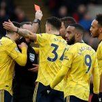 Aubameyang nhận thẻ đỏ trong trận hòa của Arsenal