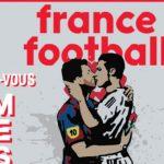 France Football đăng tranh vẽ Ronaldo hôn Messi