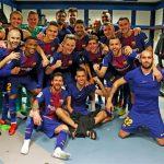 Barca tái hiện cảnh chia vui trong phòng thay đồ sân Bernabeu