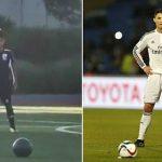 Con trai Ronaldo ghi bàn bằng cú sút phạt giống bố