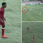 Cầu thủ U17 đưa bóng lên khán đài khi bắt chước kiểu sút phạt của Ronaldo