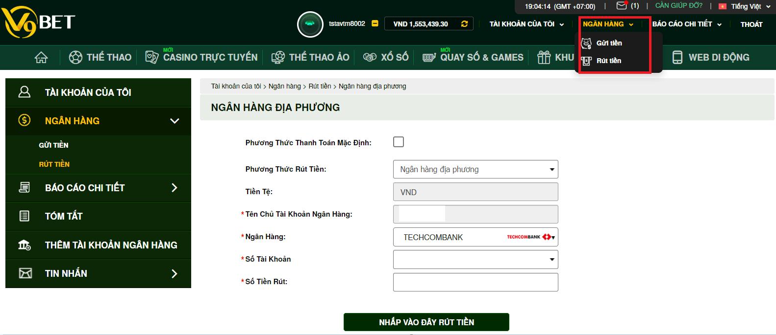 Tại sao tôi không thể rút tiền thắng về tài khoản ngân hàng từ V9bet?